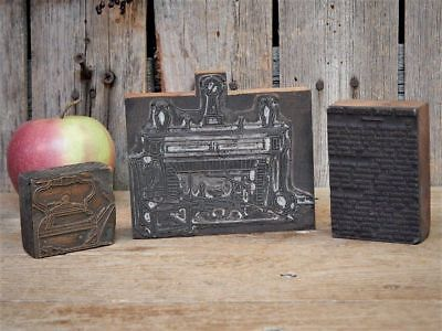 3 Antique Primitive Kitchen Early Printing Press Stamps Recipe Stove