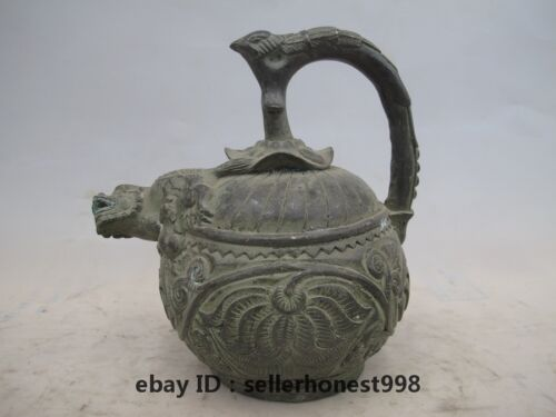 Chinese Tibet old Bronze Copper lotus flower Dragon beast pot Statue