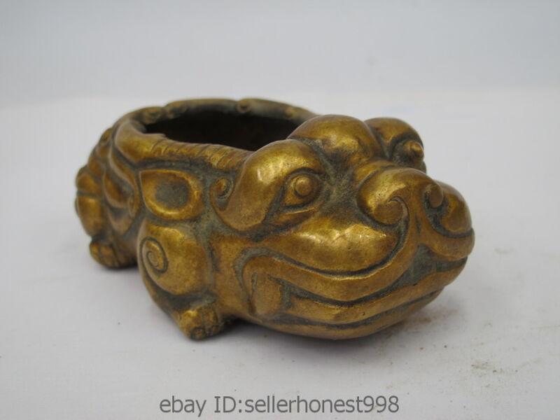 Chinese Folk Classical Bronze kylin Brave troops crock Incense Burner Censer