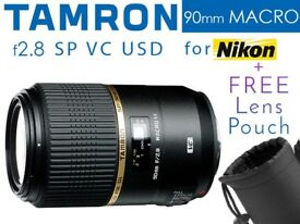 Tamron 90mm f2.8 Macro 1:1 SP Di VC USD Lens for Nikon Full Mount - Boxed As New - PLUS Lens Pouch