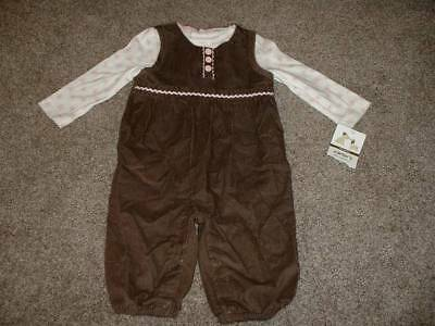 Carter's Baby Girls Little Puppy Overall Set Outfit Size 6 Months 6M NWT NEW -