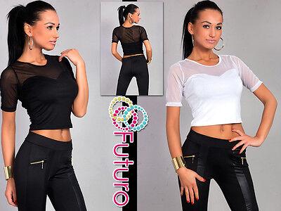Sexy & Elegant Damen Top Kurzärmelig Rundhals T-Shirt Größe 8-12 8367