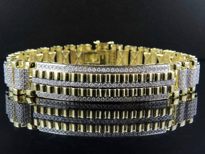 Mens 10K Yellow Gold 17MM Railroad Style Real Diamond Bracelet 10.35 ct 9 Inch