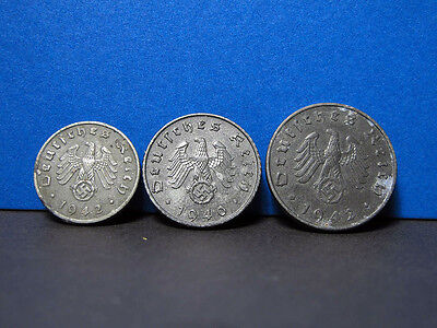 Germany,Third Reich 1;5;10 Reichspfennings,German Eagle, Nazi Swastika 1941-1944