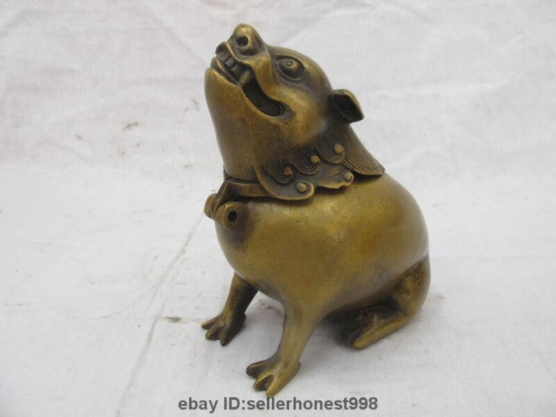 Chinese Folk Bronze Copper Roaring lion Ancient animal Incense Burner Censer