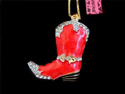 Betsey Johnson Red Crystal Enamel Elegant Boot Pendant Long Chain Coat Necklace