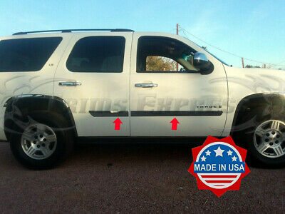 "2007- 2014 Chevy Tahoe Body Side Molding Trim Flat Stainless Steel 3"" 4Pc Rocker"