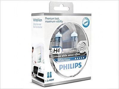 2x NEW PHILIPS WHITE VISION H4 9003 HB2 12342WHVSM HALOGEN HEADLIGHT BULBS