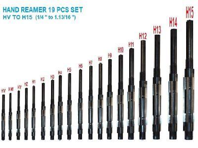 Hq 19 Pcs Adjustable Hand Reamer Set H-v To H-15 Sizes 14 To 1.1316