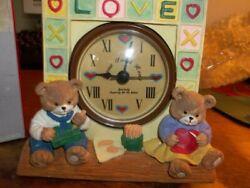 NIB COLONY CRAFT Bear Couple Love Desk Clock 5 x 4