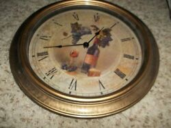 Excellent Large 16 Gold Wall Clock Wine & Grapes