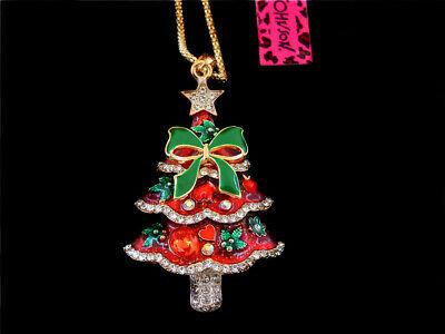 Betsey Johnson Red Enamel Crystal Bowknot Christmas Trees Pendant Coat Necklace