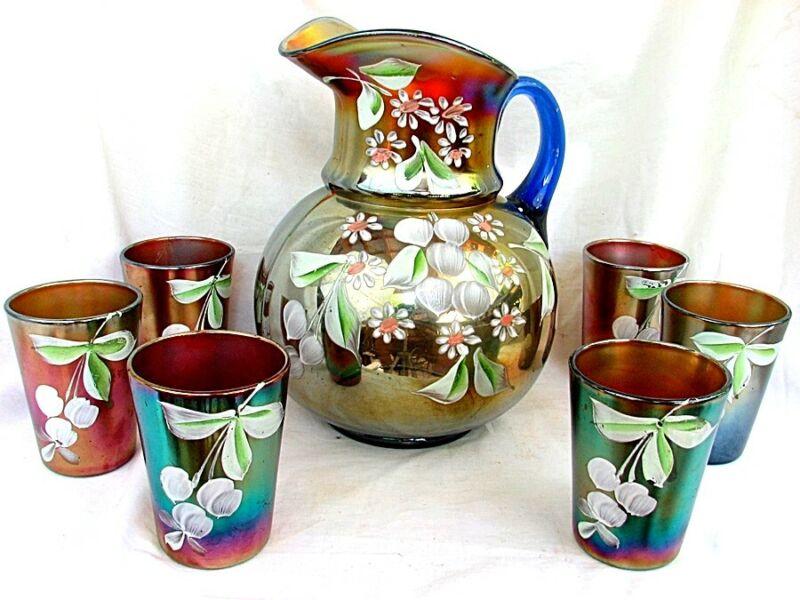 NORTHWOOD CARNIVAL GLASS LEMONADE SET *HAND PAINTED* PITCHER & GLASSES c.1910