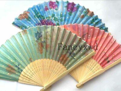 Wholesale 20 Pcs Chinese Silk Folding Bamboo Hand Fan Fans Art Handmade - Hand Fans Bulk