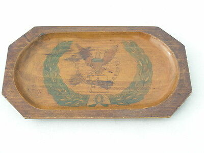 Antique American Tramp Folk Art Hand Carved Painted Pencil Pen Tray Eagle Shield