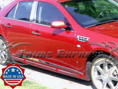 2005-2009 Cadillac STS 6Pc Flat Stainless Steel Body Side Molding Trim 1.5""