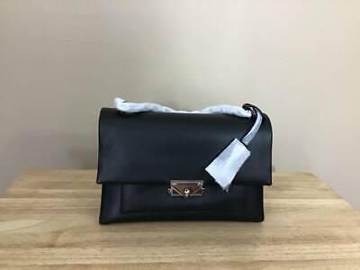 Michael Kors Cece Large Convertible Chain Leather Flap Shoulder Bag Black Silver