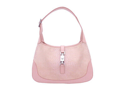 Auth Gucci Jackie Shoulder Bag Light Pink/Silvertone Leather/Suede - e44853
