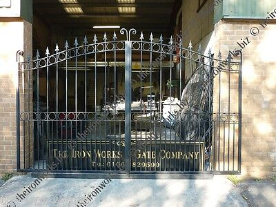 #CHARLTON HEAVY DOUBLE DRIVEWAY IRON GATES 6' TALL 13FT BRITISH BLACKSMITH MADE