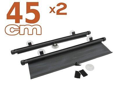 2 x Protezione Solare AUTO Tenda da Sole 45CM Tendina Parasole avvolgibile NUOVO