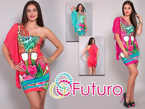 Mujer-UNIQUE-Vestido-Cenido-Asimetrico-con-tornillos-Mini-Tunica-Tallas-8-10