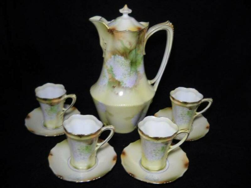 RS Prussia 9 Pc Chocolate Set Yellow w/ Snowball Flowers Circa 1870