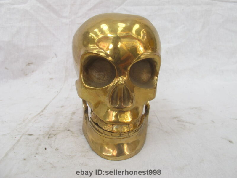 China Tibet Copper brass Buddhist ritual utensils Skull Heads Art Statue