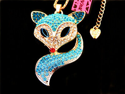 Betsey Johnson Blue Crystal Fox Pendant Necklace Sweater Chain