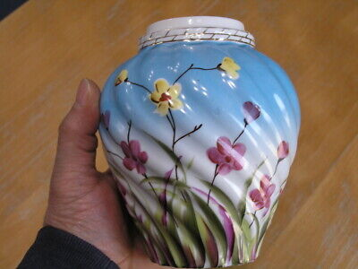 Vintage Flower Within Flower Home Decor,Cut-Out Flower Ornate Textured Surface Ribbed Glass Lidded Flower Potpourri Jar Round Metal Lid