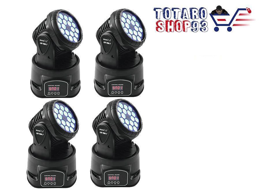4x PROIETTORE LED RGB TESTA MOBILE ROTANTE EFFETTI DISCOTECA 7 LED WASH DMX