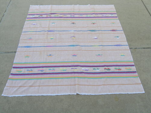 """Vintage Guatemalan Hand Loomed Woven Textile Cotton Table Cover 57x53"""" As IS"""