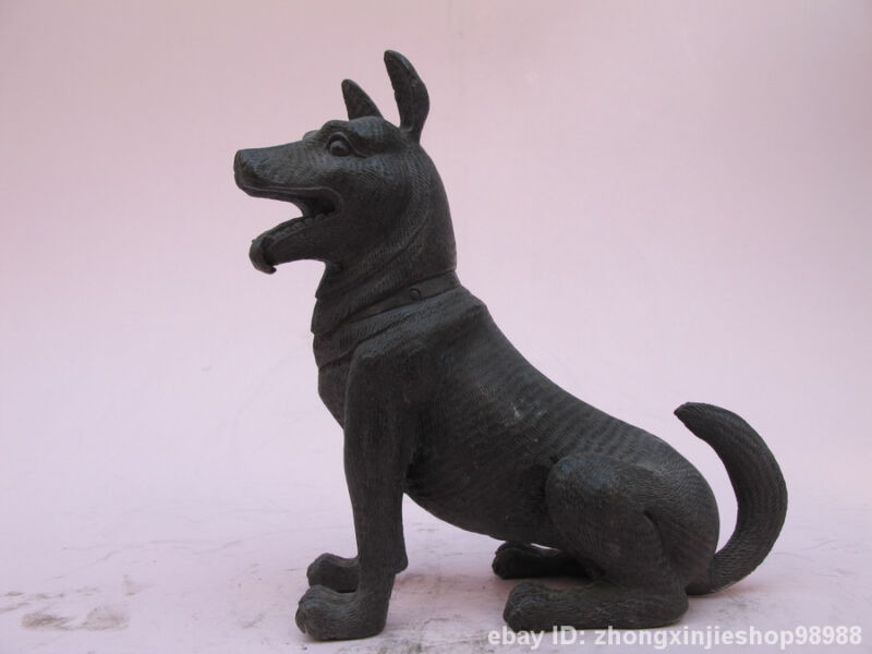 China Classical 100% Pure Bronze handwork carve  Dog Hound Animals Dogs statue
