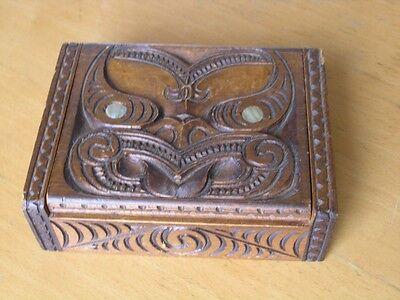 Vintage Ethnographic MaorI Kapua New Zealand Wooden Treasure Box Abalone inlay