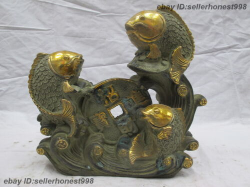 Chinese Bronze Copper Gilt Feng Shui Attract Wealth Money three Fish Statue