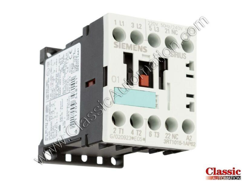 Siemens | 3RT1015-1AP62 | CONTACTOR NONREV S00 7A 240VAC 3P SCRW (New)
