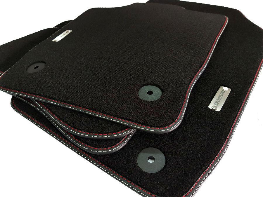 $ Fußmatten Seat Alhambra II Original Doppelnaht rot-rot 5tlg Schwarz Velours