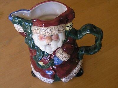 Vintage Bella Casa Santa Claus Porcelain Pitcher By Ganz 8 3/16 x 9 x 6