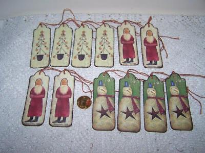 10~Christmas~Primitive~Crescent~Moon~Santa~Linen Cardstock~Gift~Hang~Tags