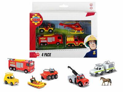 Dickie Feuerwehrmann Sam 4er Set Fahrzeug Hubschrauber Boot Quad Spielzeug
