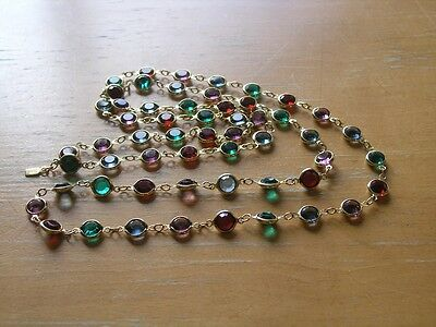 Genuine Swarovski Multi Colored Bezel Set Crystal Long Necklace Signed Swan Tag