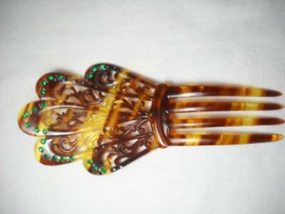 Victorian Wigs, Hair Pieces  | Victorian Hair Jewelry Victorian Ornate Hair Comb Tortoise Shell w/ Green Glass Beads $24.00 AT vintagedancer.com