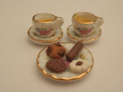 Dolls house food: Tea & chocolate biscuits for two  -By Fran