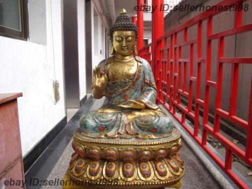 Tibetan Bronze Copper Cloisonne Shakyamuni Rulai Sakyamuni Buddha Statue