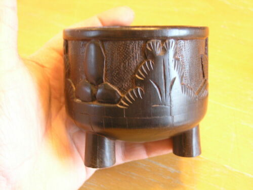 Vintage Hand Made Carved Footed RoseWood Ebony Hard Wood Bowl Bali / African