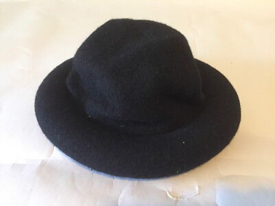 Vintage FASHIONS BY ARLIN Firth Avenue 100% Wool Black Hat with Tubed Brim