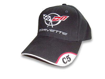 C5 Corvette Brushed Twill Black Hat with Brim Emblem Brushed Twill Hat