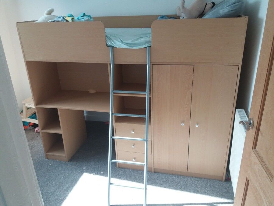 Bunk Style Bed With Built In Wardrobe Desk And Drawers In Good