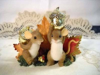 "Vtg Charming Tails ""Our Friendship is Golden"" Mice & Gold Acorns Fitz & Floyd"
