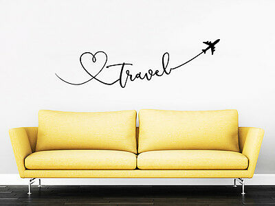 Travel  Quote Travel Wall Decal Love Planes Vinyl Sticker Decals Bedroom Zx287