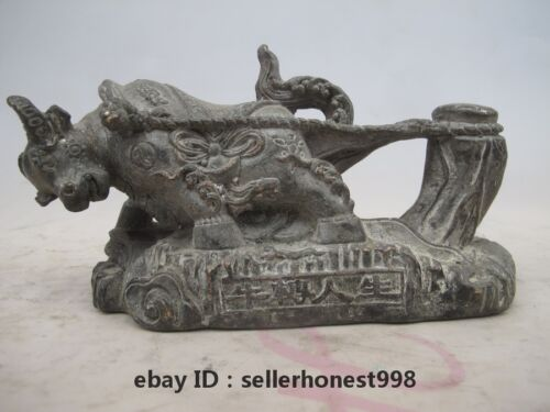 Chinese feng shui Attract Wealth Cattle bull old Bronze Copper ox Statue